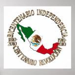 México bicentenario y celebración del centenario póster