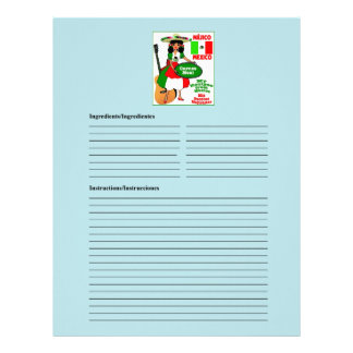 Mexico blank meat recipe cards