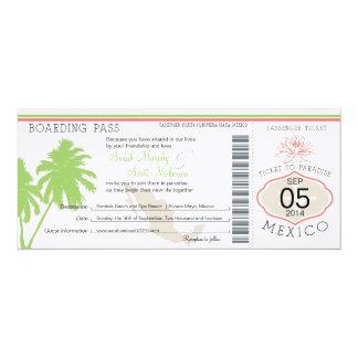 Mexico Boarding Pass Destination Wedding 4x9.25 Paper Invitation Card