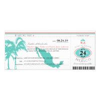 Mexico Boarding Pass Wedding 4x9.25 Paper Invitation Card (<em>$2.35</em>)