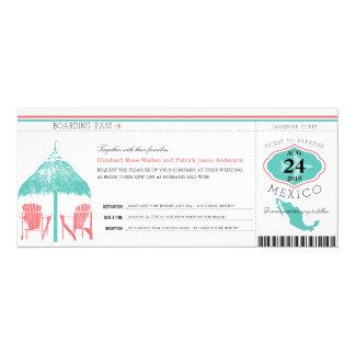 Mexico Boarding Pass Wedding 4x9.25 Paper Invitation Card