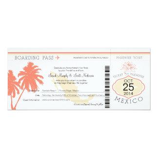 Mexico Boarding Pass Wedding Card
