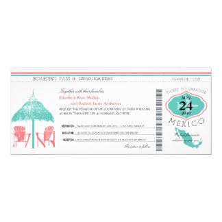 Mexico Boarding Pass Wedding Personalized Invitation Card