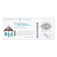Mexico Boarding Pass Wedding Invitation