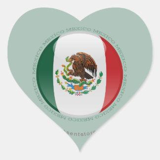 Mexico Bubble Flag Heart Sticker