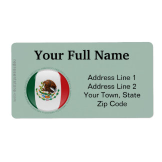 Mexico Bubble Flag Custom Shipping Label