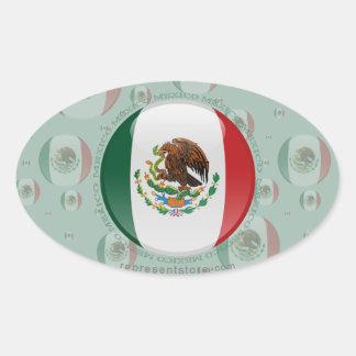 Mexico Bubble Flag Oval Sticker