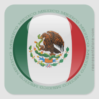 Mexico Bubble Flag Square Sticker