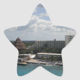 Mexico buildings and ocean star sticker