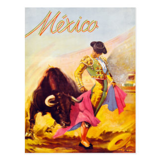 Mexico Bull Fighter Vintage Poster Restored Postcard