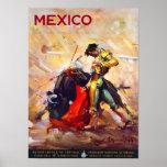 Mexico Bullfighter Vintage Travel Advert Poster