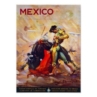 Mexico Bullfighter Vintage Travel Advert Posters
