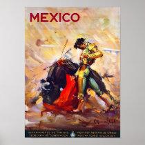 Mexico Bullfighter Vintage Travel Poster