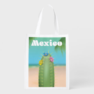 Mexico Cactus travel poster Reusable Grocery Bag