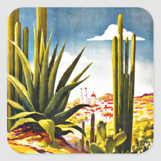 Mexico Cactus Vintage Travel Square Stickers