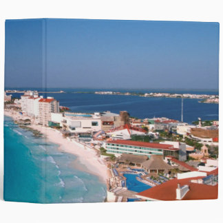 Mexico, Cancun, Aerial View Of Hotels 3 Ring Binder