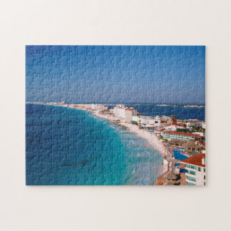 Mexico, Cancun, Aerial View Of Hotels Jigsaw Puzzle