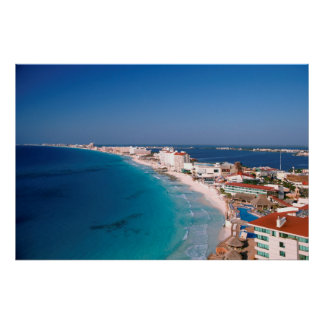 Mexico, Cancun, Aerial View Of Hotels Poster