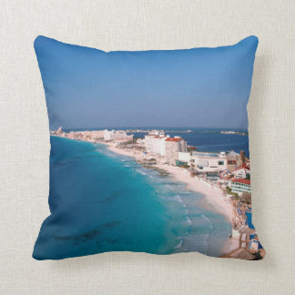 Mexico, Cancun, Aerial View Of Hotels Throw Pillow