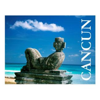 Mexico, Cancun Beach, Chac Mool Postcard