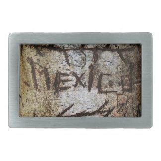 """Mexico""  Carved Tree Graffiti Rectangular Belt Buckle"