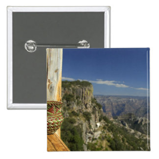Mexico, Chihuahua, Copper Canyon. View from 2 Inch Square Button