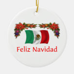 Mexico Christmas Double-Sided Ceramic Round Christmas Ornament