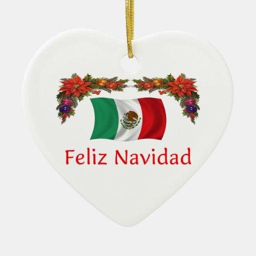 Mexico Christmas Double-Sided Heart Ceramic Christmas Ornament