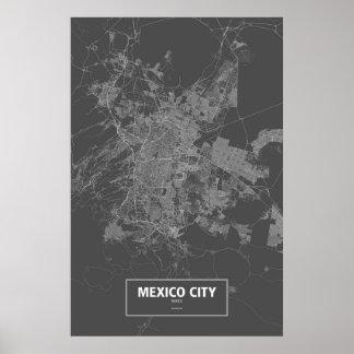 Mexico City, Mexico (white on black) Poster