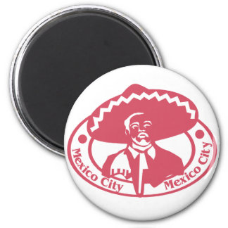 Mexico City Stamp 2 Inch Round Magnet