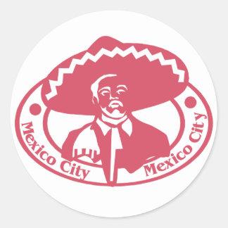 Mexico City Stamp Classic Round Sticker