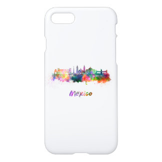 Mexico City V2 skyline in watercolor iPhone 8/7 Case