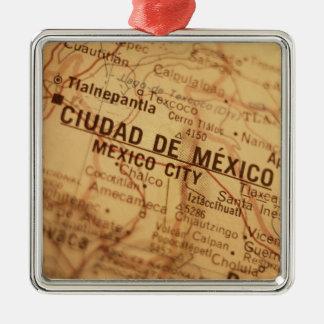 MEXICO CITY Vintage Map Metal Ornament