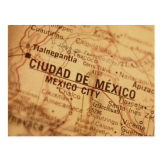MEXICO CITY Vintage Map Postcard