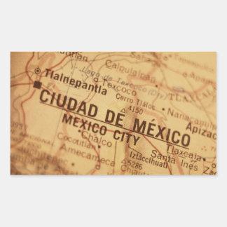 MEXICO CITY Vintage Map Rectangular Sticker