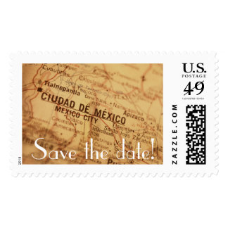 MEXICO CITY Vintage Map Save the Date Postage