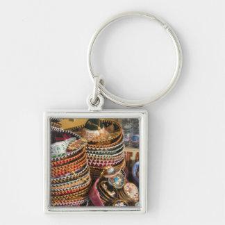 Mexico, Cozumel. Souvenirs in Isla de Cozumel Silver-Colored Square Keychain
