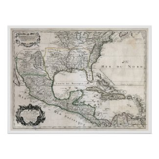 Mexico Cuba Florida & America Map 1703 Poster