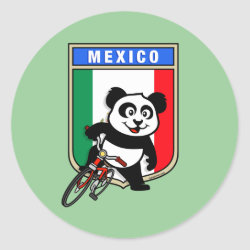 Round Sticker with Mexico Cycling Panda design