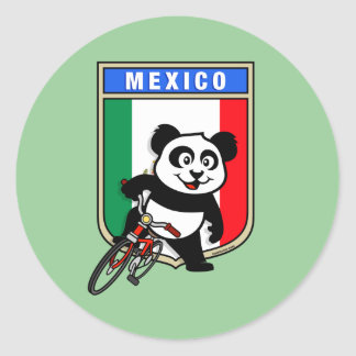 Mexico Cycling Panda Classic Round Sticker