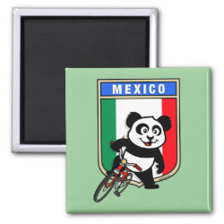Square Magnet with Mexico Cycling Panda design