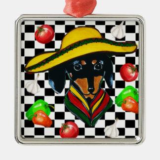 MEXICO DACHSHUND CHEF METAL ORNAMENT