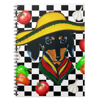 MEXICO DACHSHUND CHEF SPIRAL NOTE BOOKS