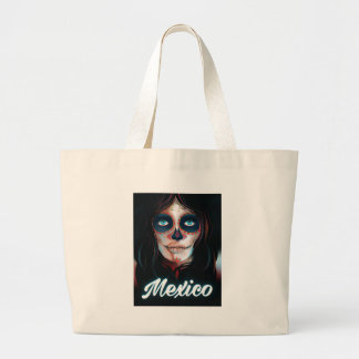Mexico Day of the Dead Vacation print Large Tote Bag