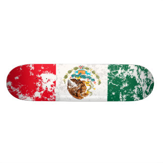 Mexico Distressed Flag Skate Board
