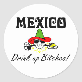 Mexico Drink Up Classic Round Sticker