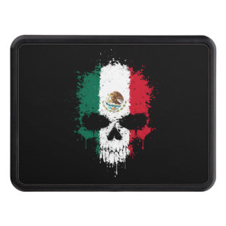 Mexico Dripping Splatter Skull Trailer Hitch Covers