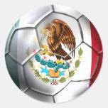Mexico el Tri soccer ball Mexican flag gear Round Stickers