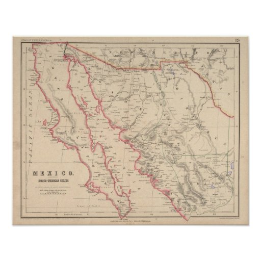 México, estados del noroeste poster