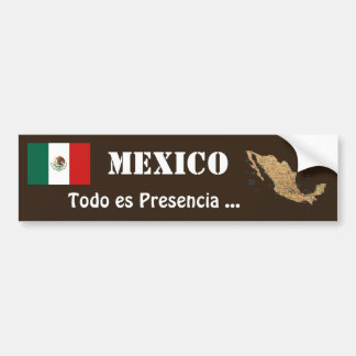 Mexico Flag and Map Bumper Sticker